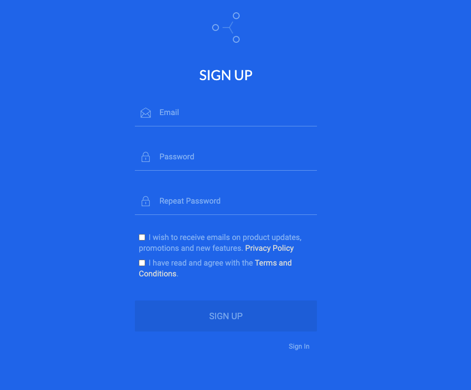 Sign up screen on GateHub