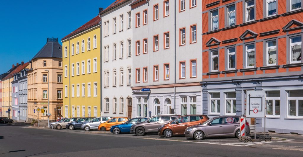 European street with colourful buildings